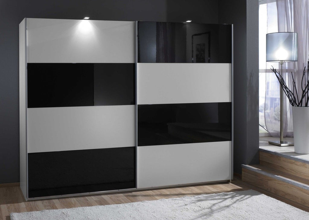 SlumberHaus 'Eleganz' Modern White & Black Glass Sliding Door Wardrobe
