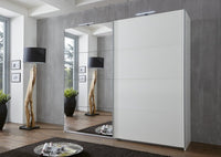SlumberHaus 'Ernie' German Made Modern 225cm White & Mirror 2 Door Sliding Wardrobe