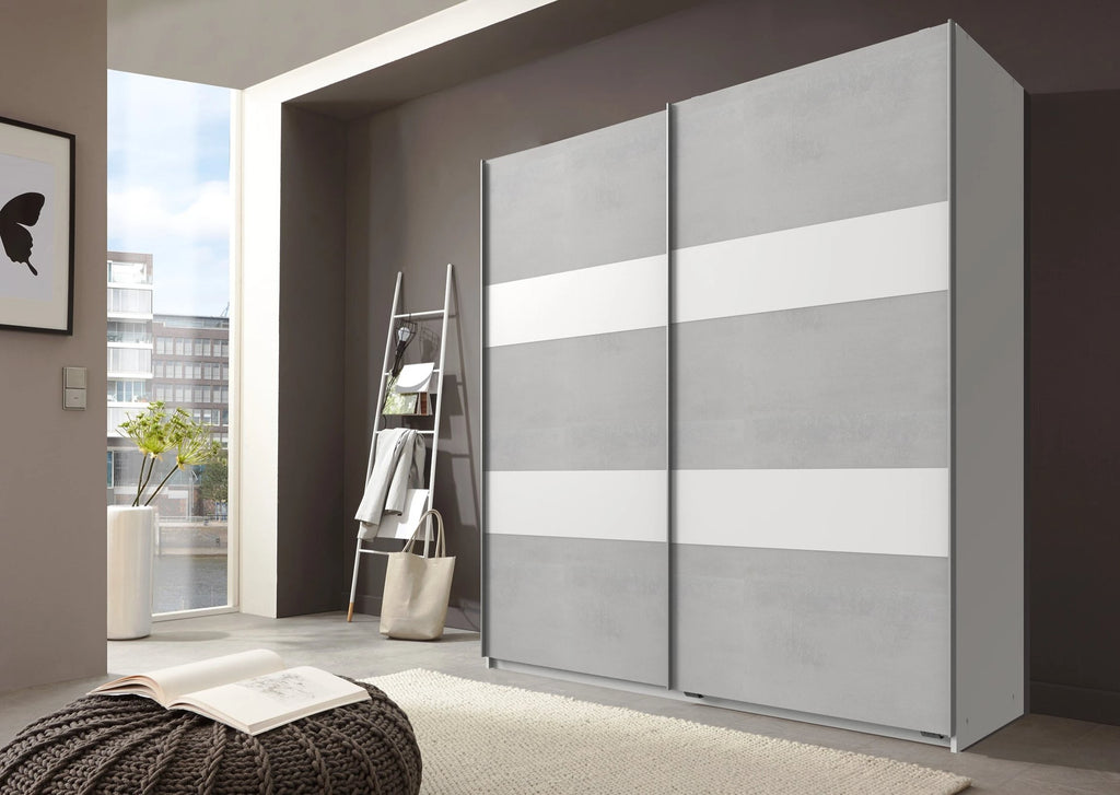 SlumberHaus German Light Grey Concrete & White Sliding 2 Door Wardrobe