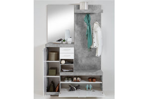 Large Cloakroom Hallway Furniture Unit White Gloss & Concrete Storage Cabinet. FMD Bristol Hallway Unit. Storage Hallway Cabinet