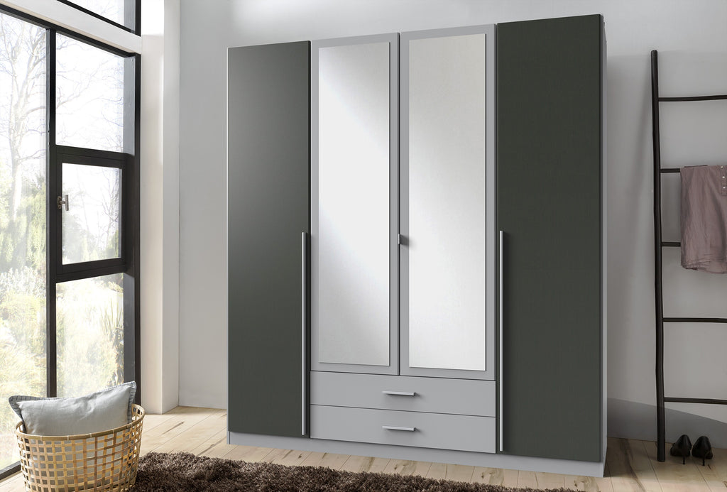 SlumberHaus 4 Door Wardrobe With Drawers Mirror Doors Grey Aluminium Graphite