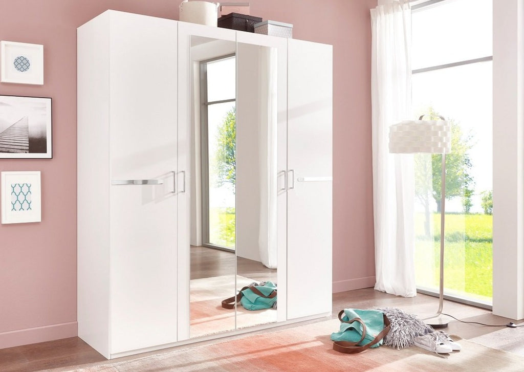 SlumberHaus 'Anna' German Made Modern White & Mirror 180cm Wardrobe