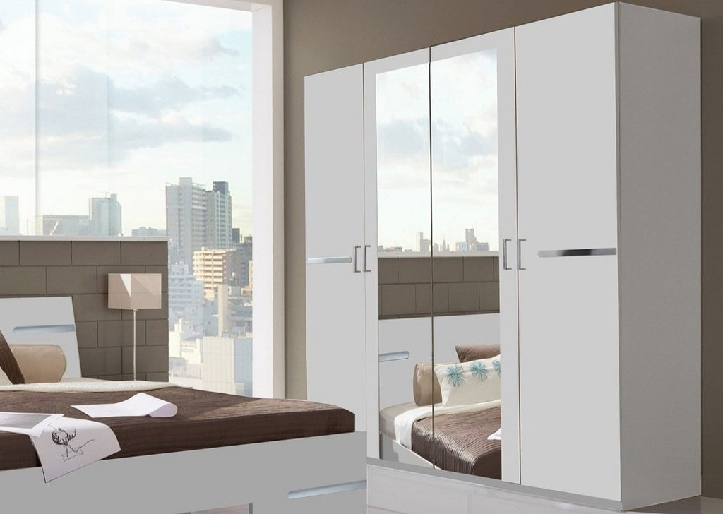 SlumberHaus 'Anna' German Made Modern White and Mirror 4 Door Wardrobe