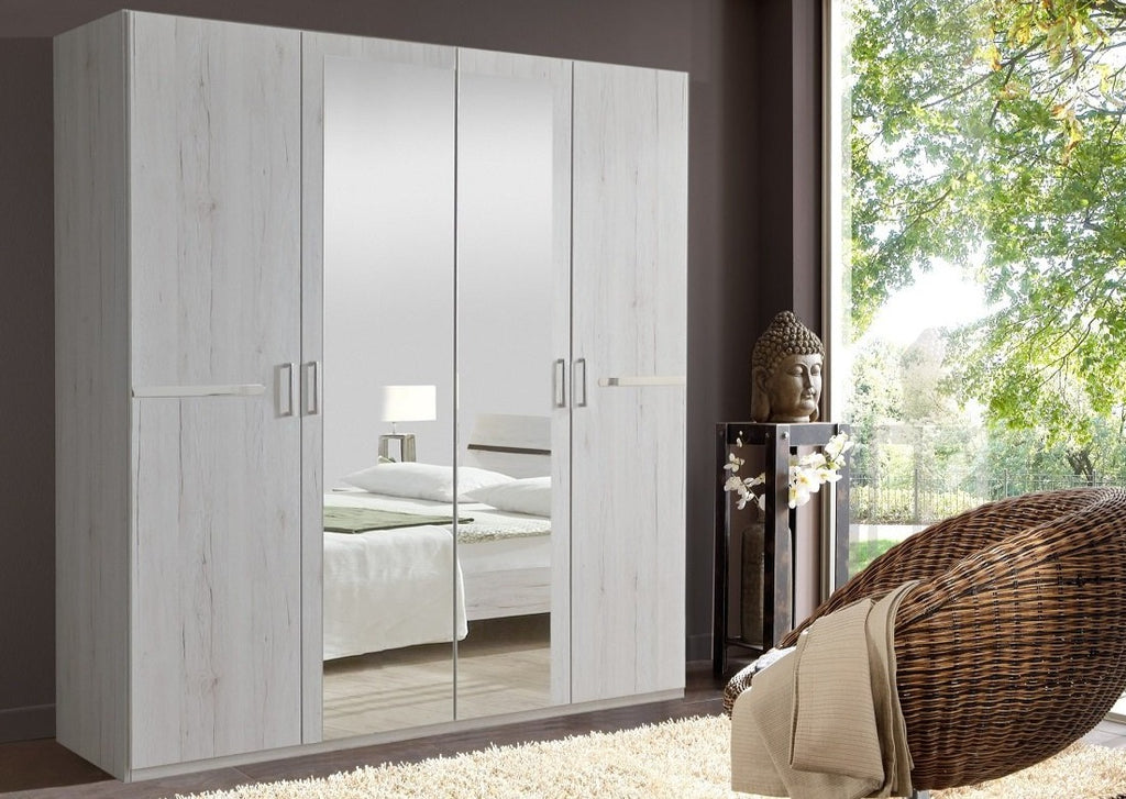 SlumberHaus 'Anna' German Made Modern White Oak & Mirror 180cm Wardrobe