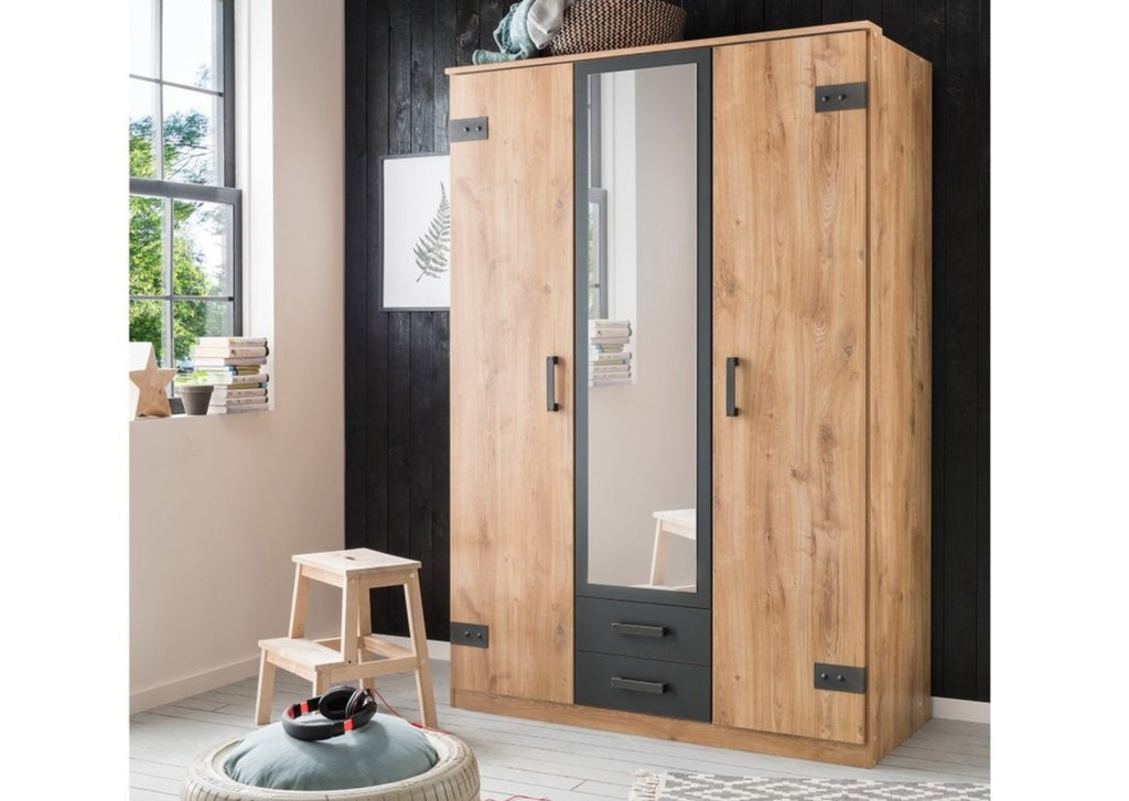 SlumberHaus 'Cork' 3 Door Wardrobe 135cm Industrial Rustic Planked Oak & Graphite Mirror Doors