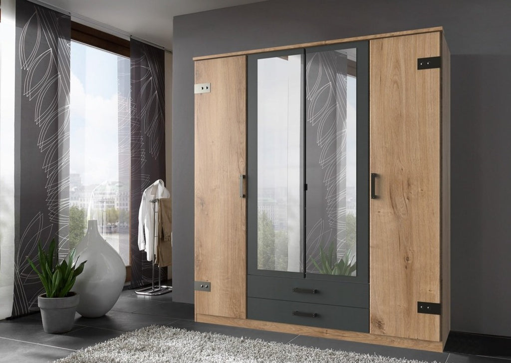 SlumberHaus 'Cork' Large Planked Oak & Graphite Mirror 180cm Bedroom Wardrobe