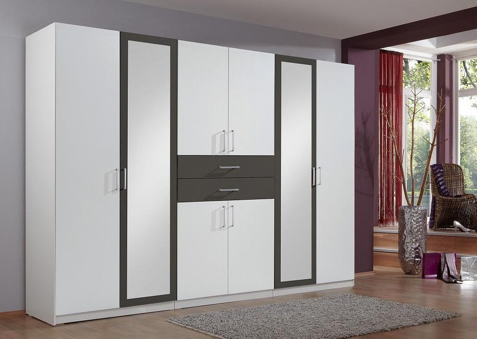 SlumberHaus 'Diver' Modern White, Black and Mirror 270cm Wardrobe with Drawers