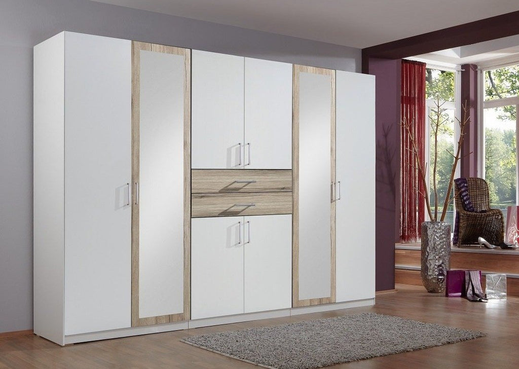 SlumberHaus 'Diver' Modern White, Oak and Mirror 270cm Wardrobe with Drawers
