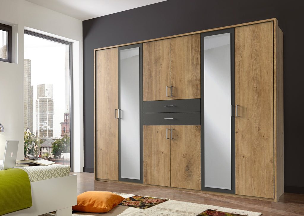 Large Mirror Door Wardrobe with Drawers German 'Diver' Planked Oak & Grey