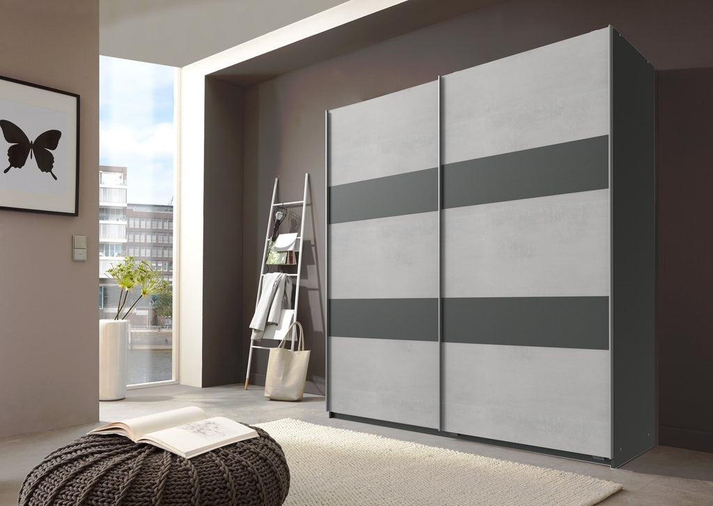 SlumberHaus German Light Grey Concrete & Graphite Sliding 2 Door Wardrobe