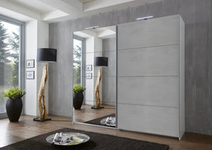 SlumberHaus German Made Urban 180cm White Grey Concrete & Mirror Sliding Door Wardrobe