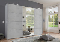 SlumberHaus German Made Urban 270cm White Grey Concrete & Mirror Sliding Door Wardrobe