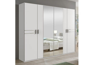 SlumberHaus 'Susan' 225cm White & Mirror Large Hinged Wardrobe