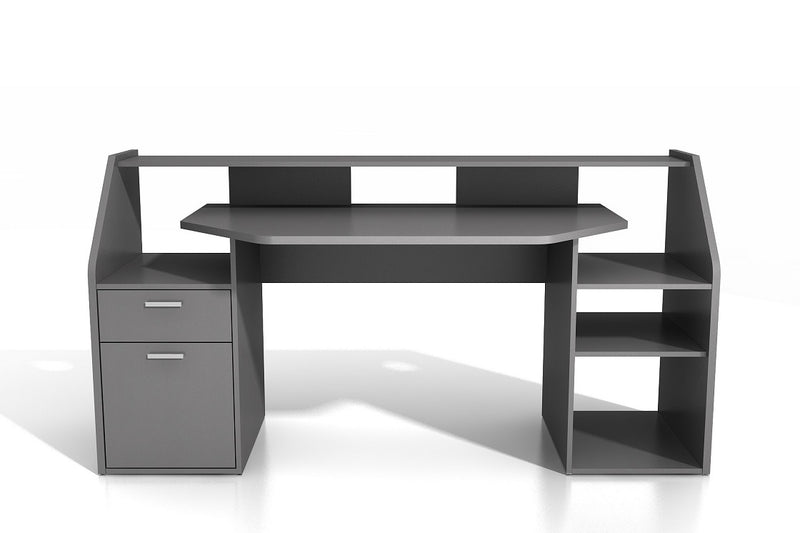 'Felix' Large PC Gaming Desk Table Workstation With Shelves Storage Dark Grey