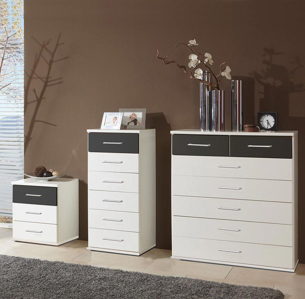 SlumberHaus White & Grey Graphite Chests of Drawers