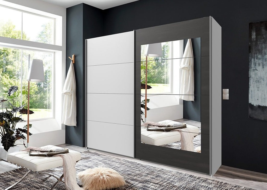 SlumberHaus 'Minden' Large Bedroom 225cm White & Graphite Mirror 2 Door Sliding Wardrobe