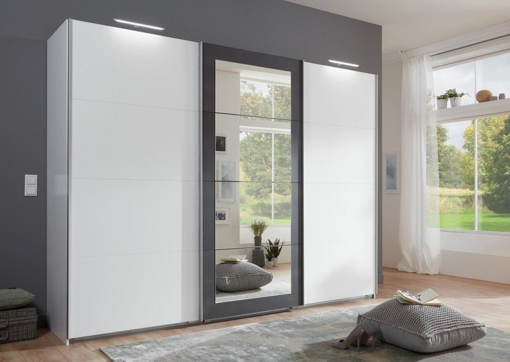 SlumberHaus 'Minden' Large Bedroom 270cm White & Graphite Mirror 3 Door Sliding Wardrobe