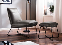 'Soho' Retro Vintage Grey Leather Look Occasional Lounge Chair and Stool