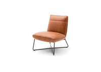 'Soho' Retro Vintage Leather Look Occasional Lounge Chair and Stool Tan Brown