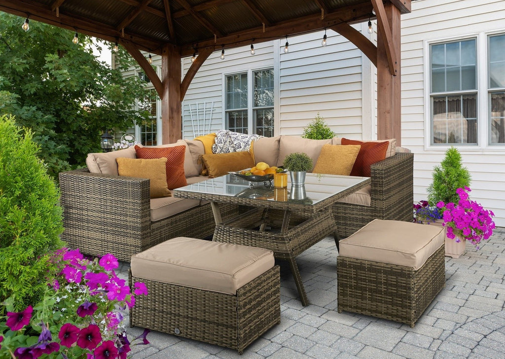 Sol 72 Outdoor Rattan Garden Furniture, Brown Rattan Corner Sofa, Brown Rattan Garden Furniture Set