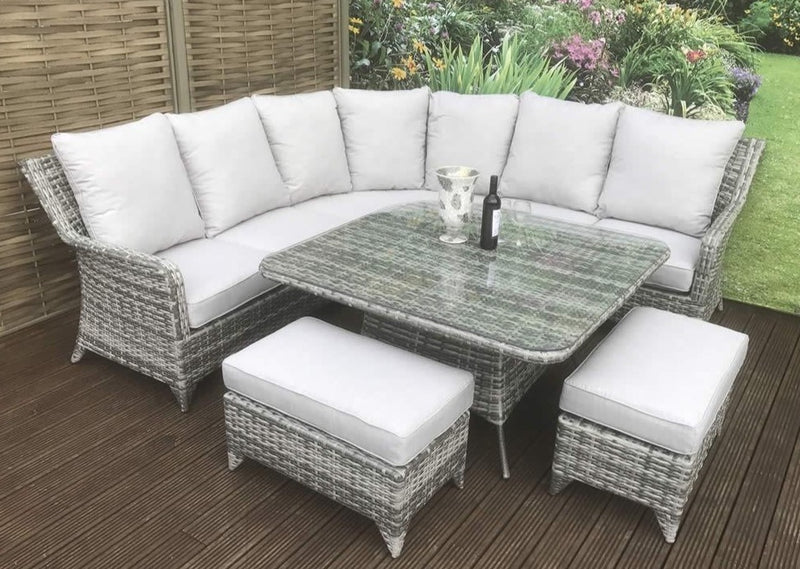 'Sorrento' Large 8-9 Seater Grey Rattan Corner Sofa Dining Table Set