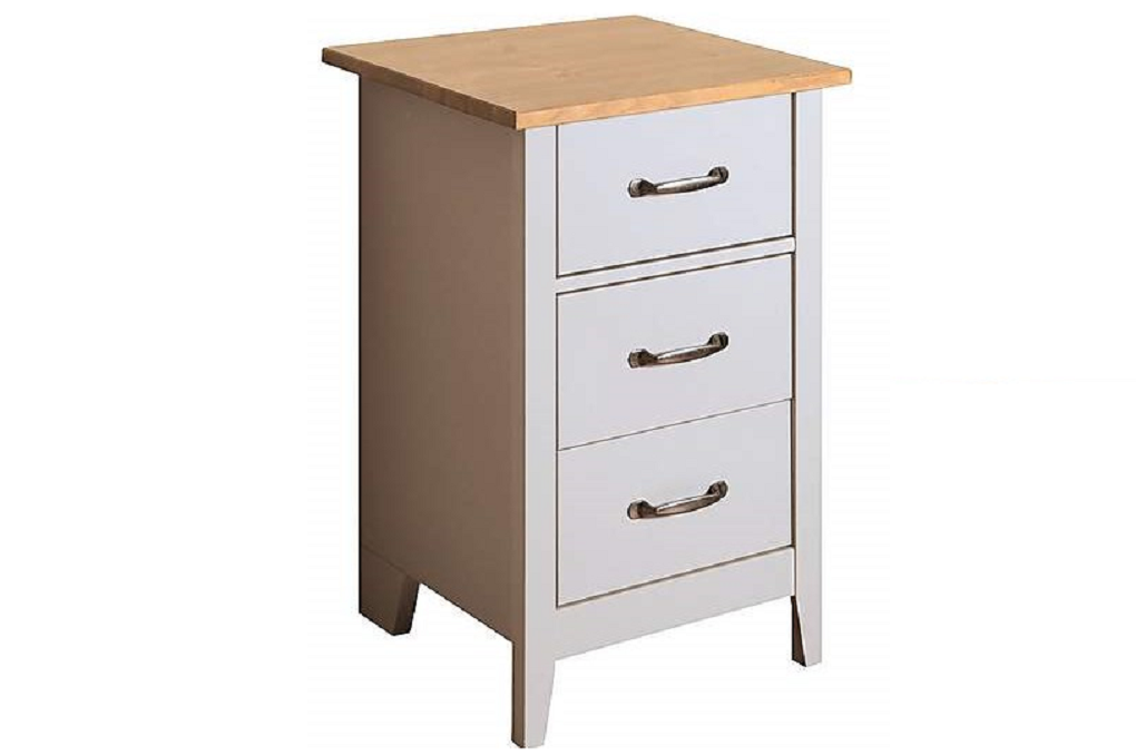 Steens Norfolk Grey and Pine 3 Drawer Bedside Table