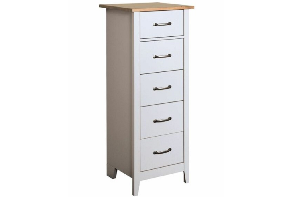 Steens Norfolk Grey and Pine 5 Drawer Narrow Chest of Drawers