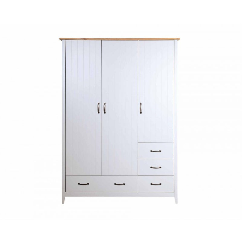 Steens Norfolk Grey and Pine 3 Door 4 Drawer Wardrobe