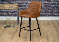 Tan Leather Black Metal Leg Industrial Modern Style Kitchen Breakfast Bar Stool Chair with arms