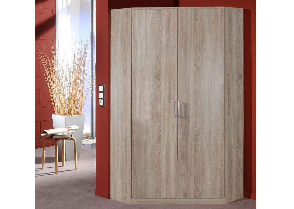 SlumberHaus 'Berlin' German Made Modern Light Oak 2 Door Corner Wardrobe