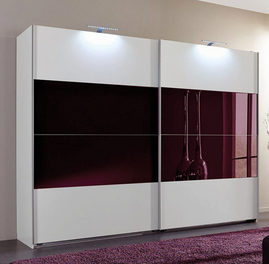 SlumberHaus 'Eleganz' Modern White & Blackberry Glass Sliding Door Wardrobe 270cm
