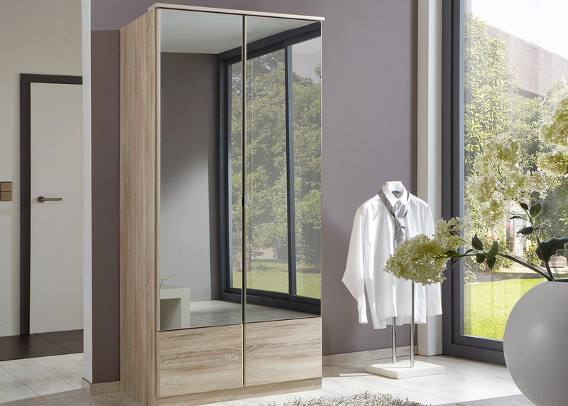 SlumberHaus 'Imago' German Made Modern Light Oak & Mirror 2 Door 90cm Wardrobe