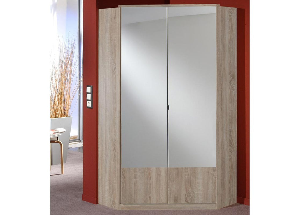 SlumberHaus 'Imago' German Made Modern Light Oak & Mirror 2 Door Corner Wardrobe