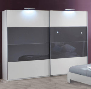 SlumberHaus 'Eleganz' Modern White & Grey Glass Sliding Door Wardrobe