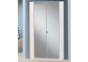 SlumberHaus Gamma German Made Modern White and Mirror 2 Door Corner Wardrobe