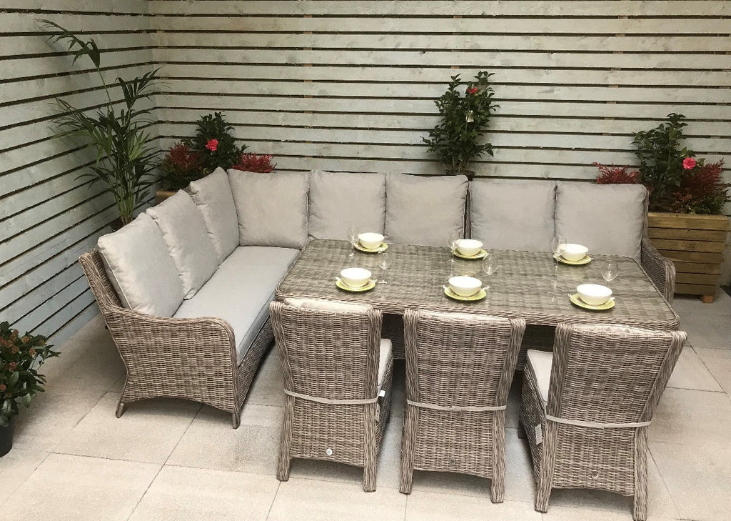 'Alex' Large 10 Seater Rectangular Grey Rattan Corner Sofa Dining Table Chair Set