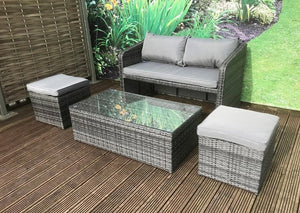 Compact Rattan Bistro Balcony Outdoor Garden Patio Set Coffee Dining Set