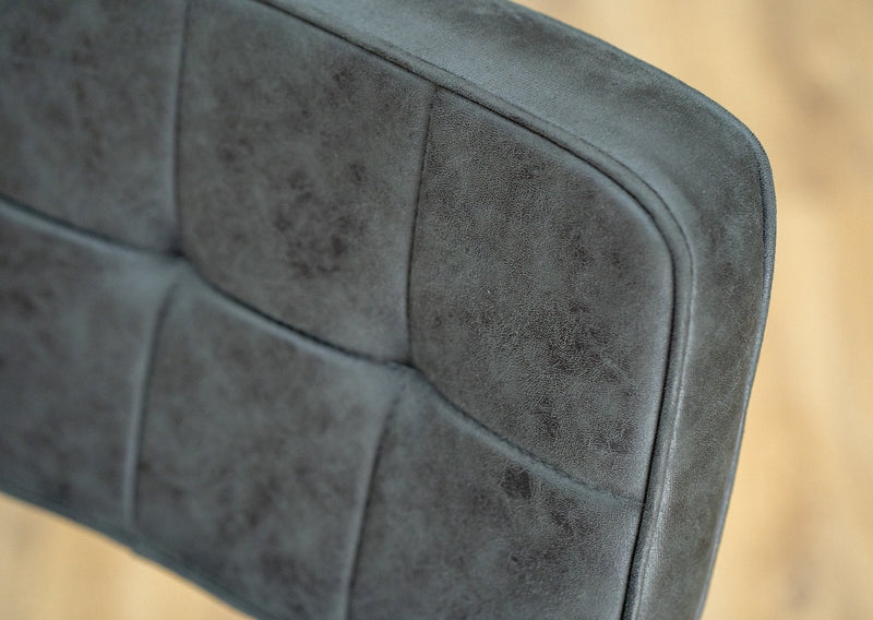 dining chairs grey fabric stitching detail