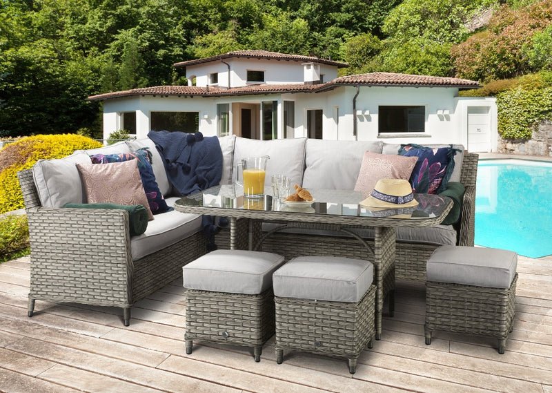 Grey rattan corner sofa set, Signature Weave Rattan, Edwi0259, Edwina Rattan Corner Sofa Set, Auberta Rattan, Sol 72 Outdoor, Zipcode Design, Beachcrest Home, Garden Furniture