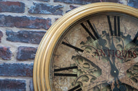 Gold Framed Skeleton Moving Gears Clock