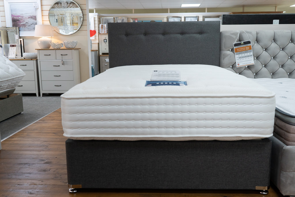 Grey divan bed base with buttoned head board, Divan Bed and Mattress Shop Showroom Dudley, Stourbridge West Midlands