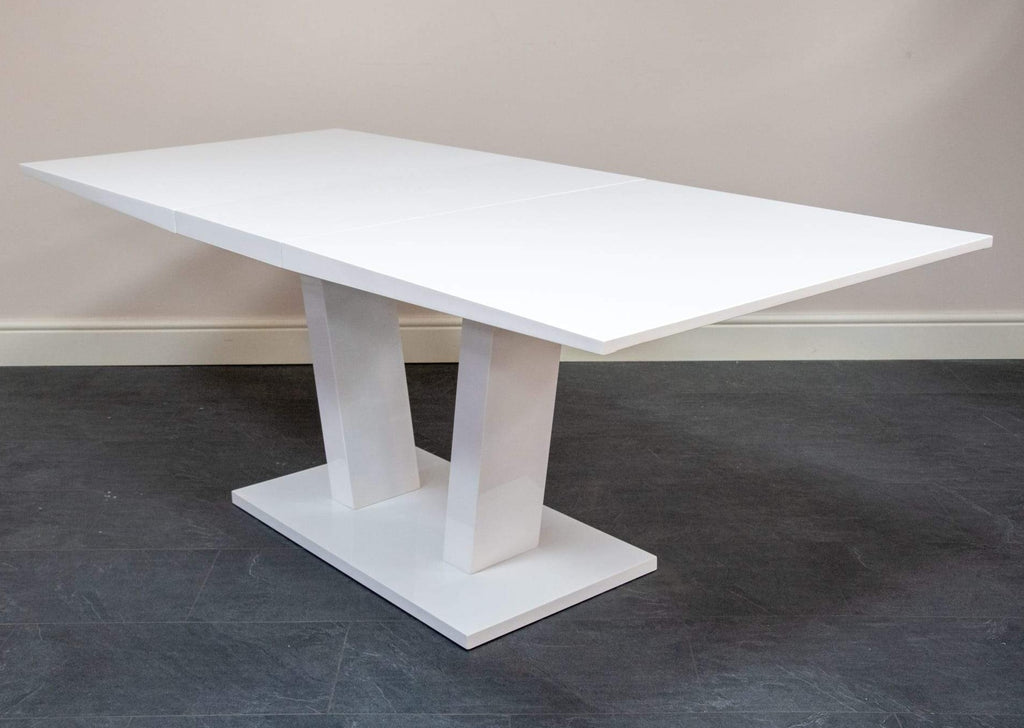 Tirso White High Gloss Extending Dining Table