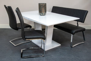 grey chrome dining chair dining bench high gloss white extending dining table