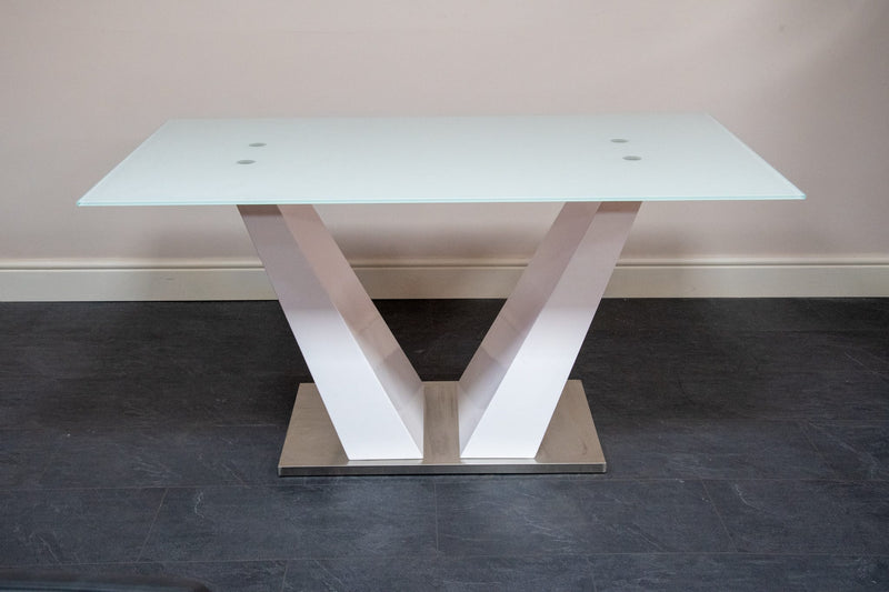 grey dining chair high gloss glass table