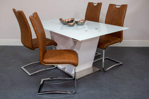tan dining chairs high gloss glass dining table tan dining