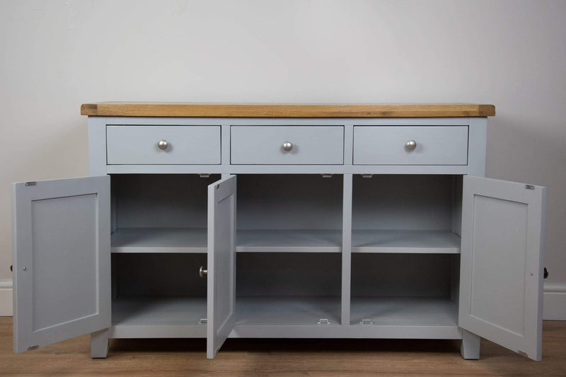 solid oak grey painted 3 door sideboard unit draw living room cabinet storage furniture