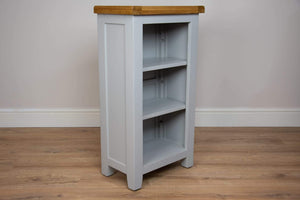 solid oak grey painted small shelving bookcase office hallway living room storage furniture