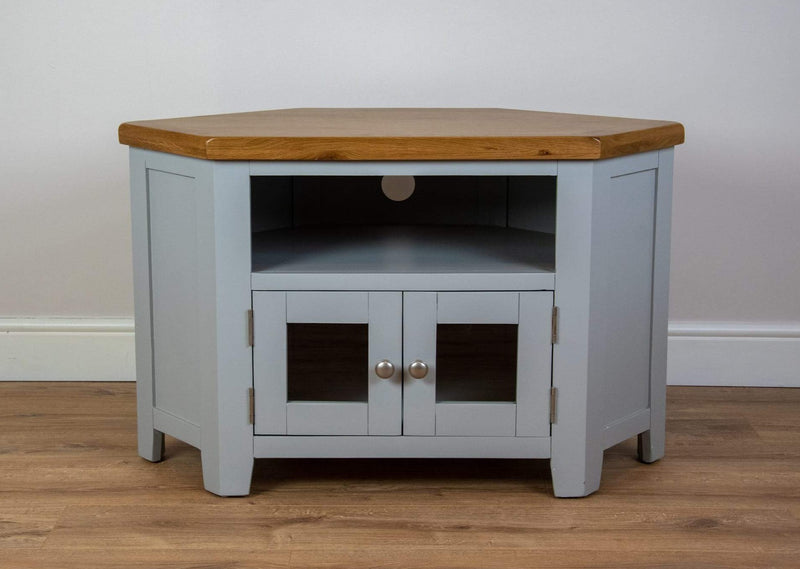 solid oak grey painted 2 glass door tv unit living room cabinet storage furniture