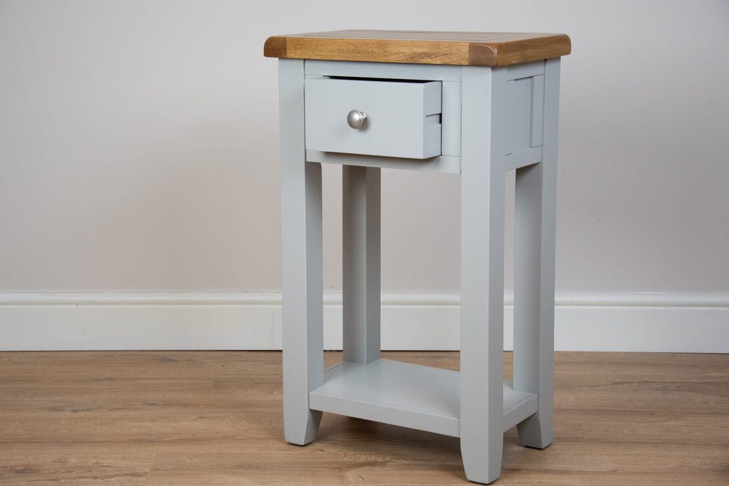 solid oak painted grey console tables lamp table living room hallway furniture