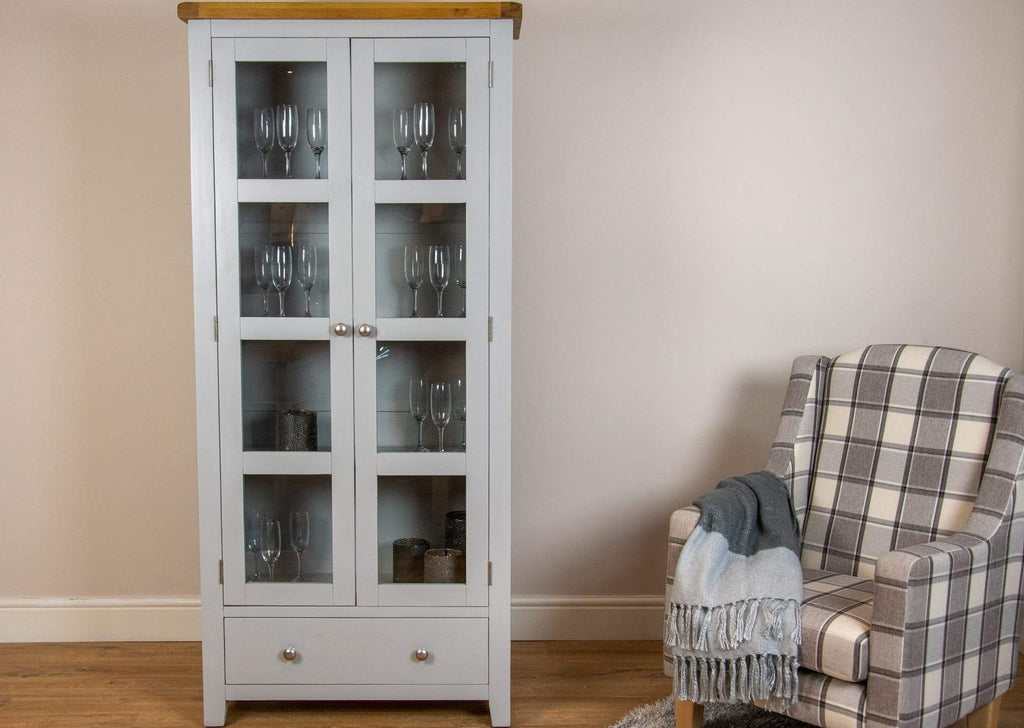 solid oak grey painted glass door display unit shelving bookcase dining living room storage furniture